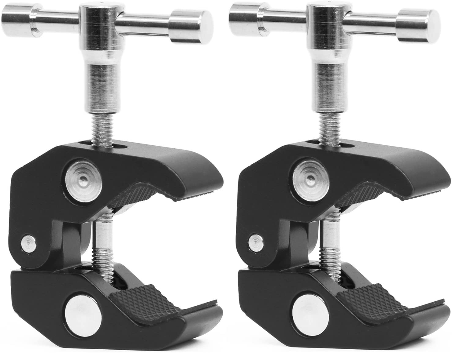 "Anwenk 2Pack Super Clamp w/ 1/4""-20 and 3/8""-16 Thread Camera Clamp Mount Crab Clamp for Cameras, Lights, Umbrellas, Hooks, Shelves, Plate Glass, Cross Bars,Photo Accessories and More"