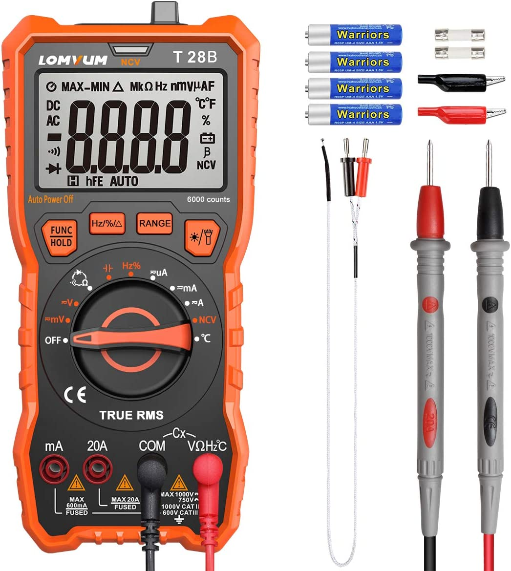 LOMVUM Digital Multimeter, 6000 Counts Auto-Ranging Voltage Tester Meter with Ohm Volt Amp Capacitance Temperature Frequency Diode Backlit LCD and Flashlight