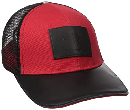 53bcfb5e Armani Exchange Men's Logo Patch Mesh Trucker Hat, Absolute red, One Size