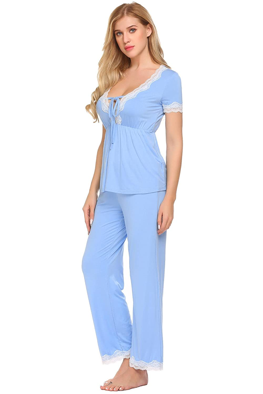 Scallop Pijamas Dos Pieza Mujer Primavera Set de agradable Tacto y Cómodo: Amazon.es: Ropa y accesorios