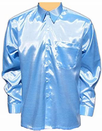 Luz azul camisa para hombre camisa casual camisa satén manga ...