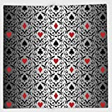 Cotton Microfiber Hand Towel,Poker Tournament Decorations,Card Symbols Ornament Victorian Floral Swirls Pattern Decorative,Silver Black Red,for Kids, Teens, and Adults,One Side Printing