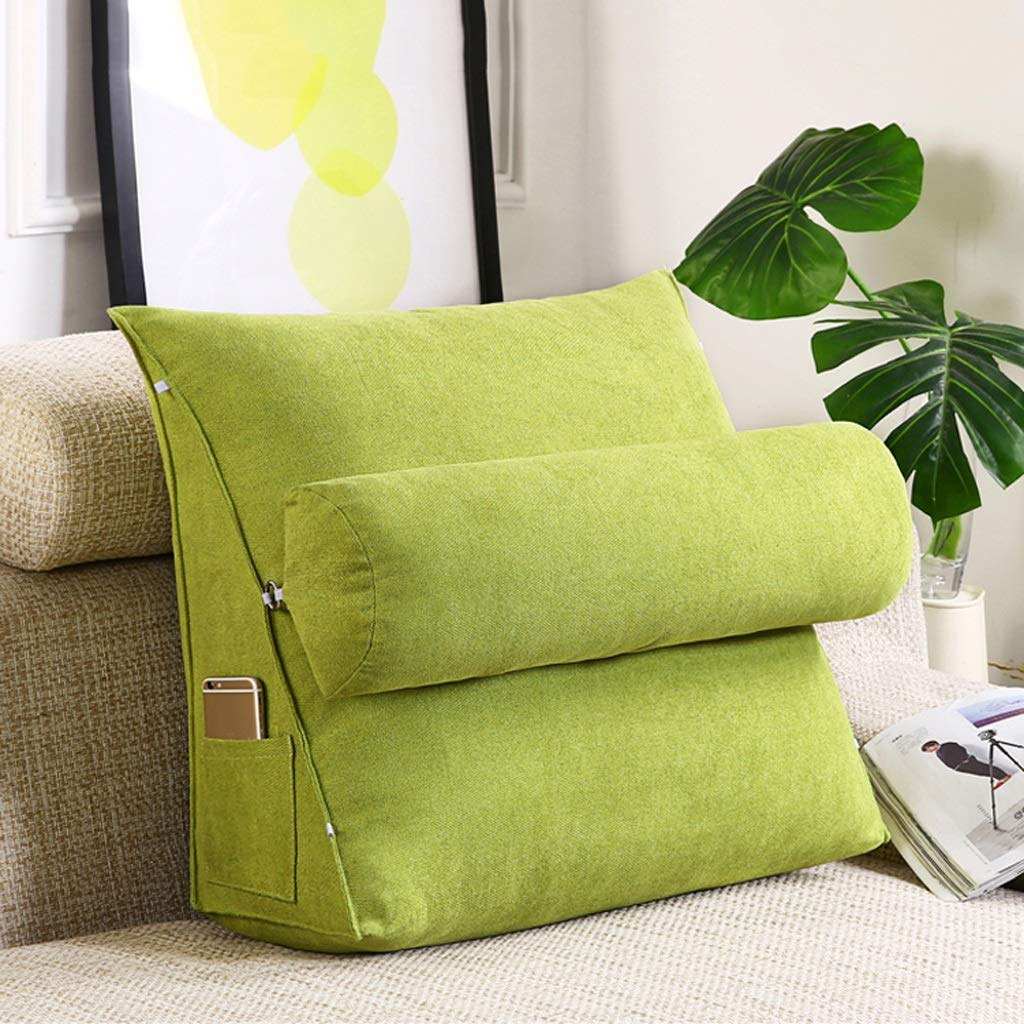 Lil with Headrest Sofa Waist Belt Triangle Cushion, Bed Head Large Office Backrest, Protection Neck Pillow,Removable Washable (Color : Fruit Green, Size : 605020cm)