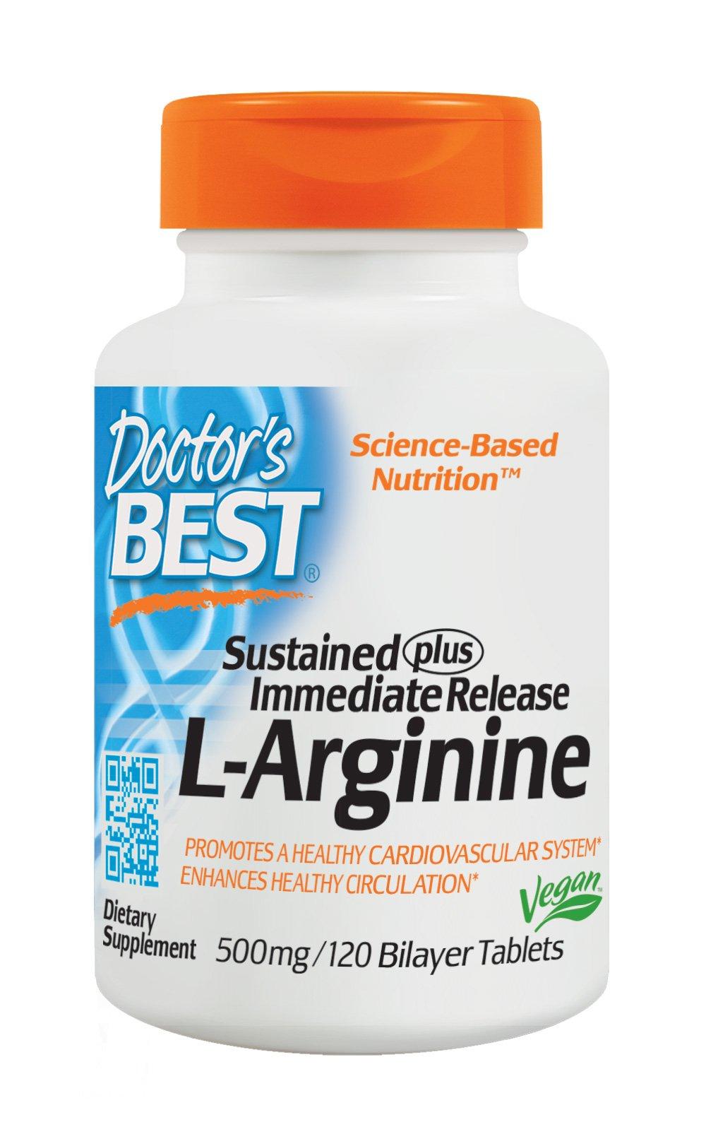 Doctor's Best Sustained Plus Immediate Release L-Arginine, Non-GMO, Vegan, Gluten Free, Soy Free, 500 mg, 120 Bilayer Tablets by Doctor's Best