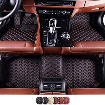 Left Hand Driving Foot Pad for BMW Leather Custom Fit Car Floor Mats All-Weather Protection Floor Liners Waterproof Carpets Black