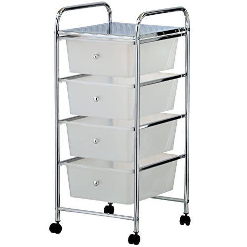 VonHaus 4 Drawer Storage Trolley | Home Office Supplies or Make-up & Beauty Accessories | White