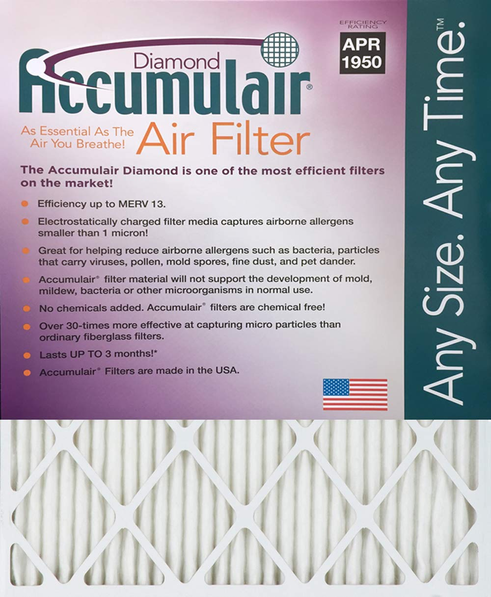 Accumulair Diamond 16x30x1 (15.5x29.5) MERV 13 Air Filter/Furnace Filter by Accumulair