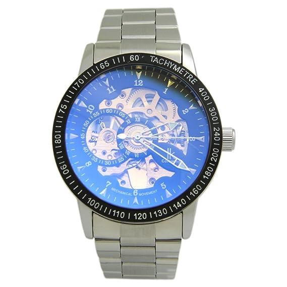 Generic para colorear Taquímetro para hombre Blue Ray de esqueleto de cristal automático de la Alianza mecánica reloj infantil con mecanismo de acero ...