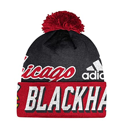 the latest 35a84 839f8 Image Unavailable. Image not available for. Color  adidas Chicago Blackhawks  Beanie NHL Cuffed Pom Knit