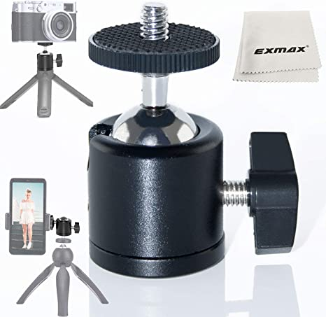 360 Degree Panoramic Head Camera Ball Head with 1//4 Inches Screw Quick Release Plate for Small DSLR//CSC Action Cameras Monitors Lights LED Compact Cameras Mini Tripod Head Ball Head