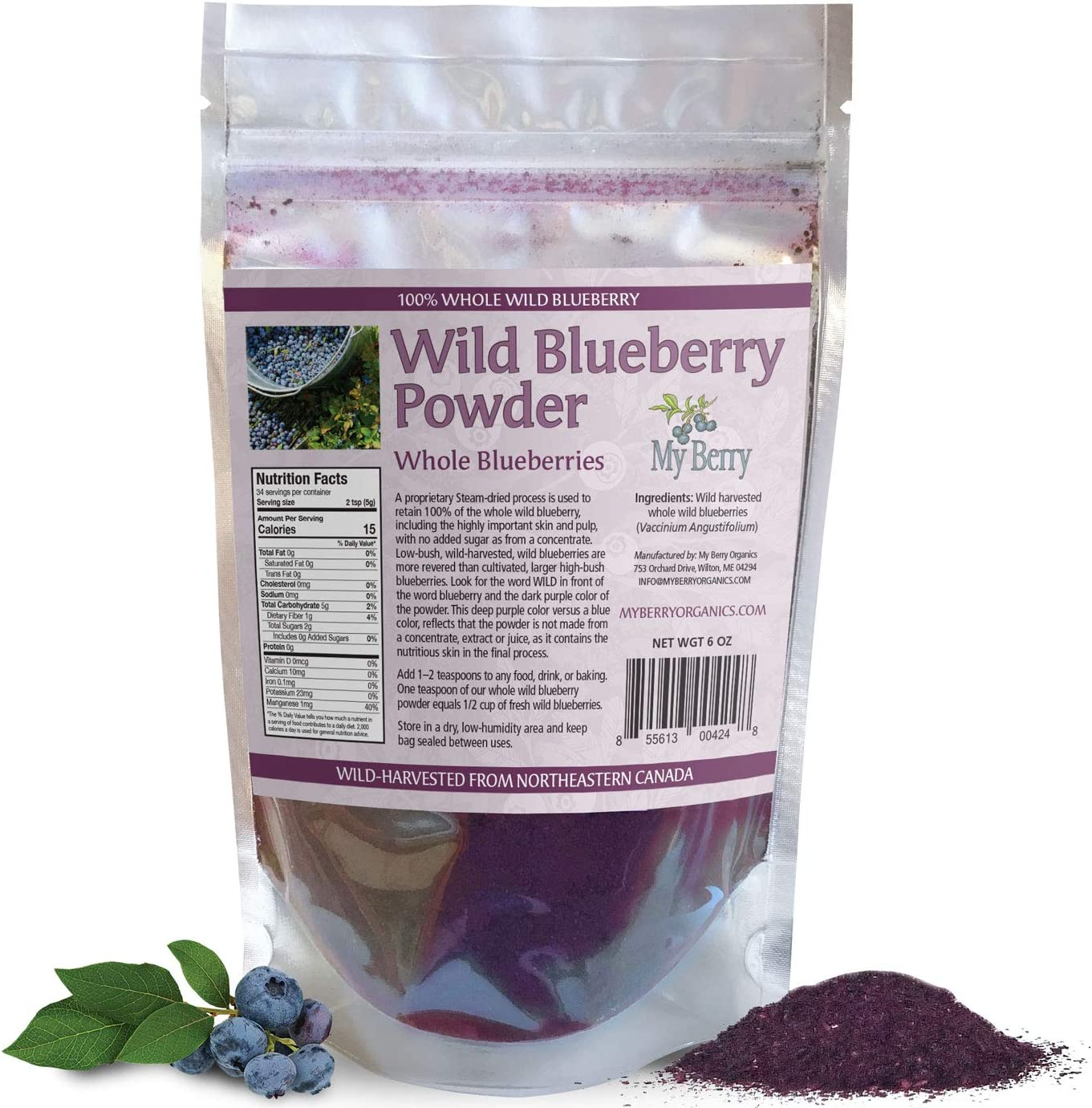 Amazon Com Wild Blueberry Powder 100 Whole Berry No Pesticides 6oz Grown In North America Not A Concentrate Extract Juice Powder Freeze Dried Nor A Bilberry Woman Owned Small Company Health Personal Care