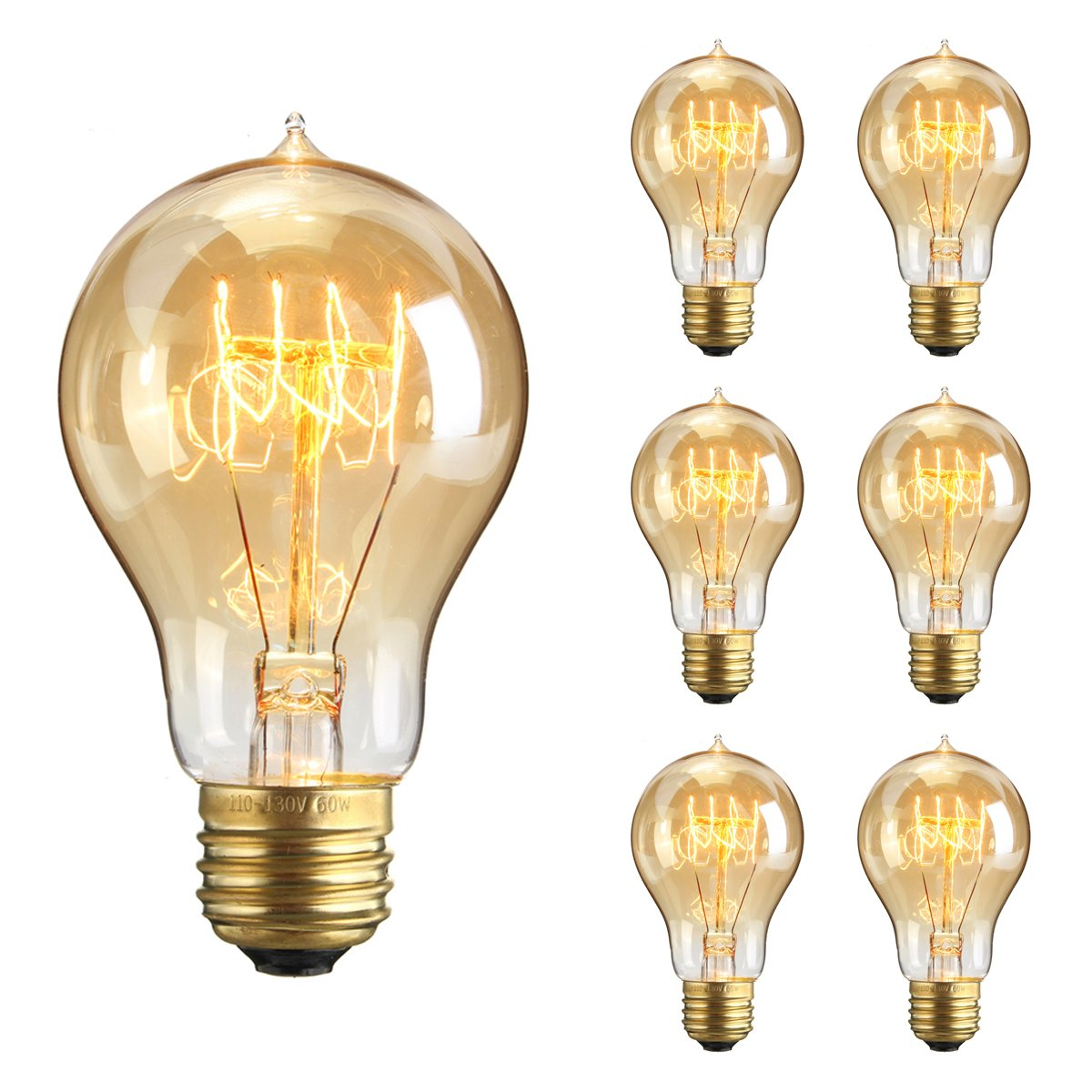 Kingso 6packs vintage edison bulbs 60w a19 squirrel cage filament kingso 6packs vintage edison bulbs 60w a19 squirrel cage filament incandescent antique dimmable light bulb for home light fixtures e27 base 110v 23 anchors arubaitofo Image collections