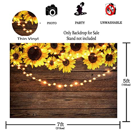 95dc07dad1a0 Amazon.com   Funnytree 7X5FT Sunflower Wood Texture Backdrops for  Photography Rustic Child Baby Shower Birthday Party Background Banner for  Picture Photo ...