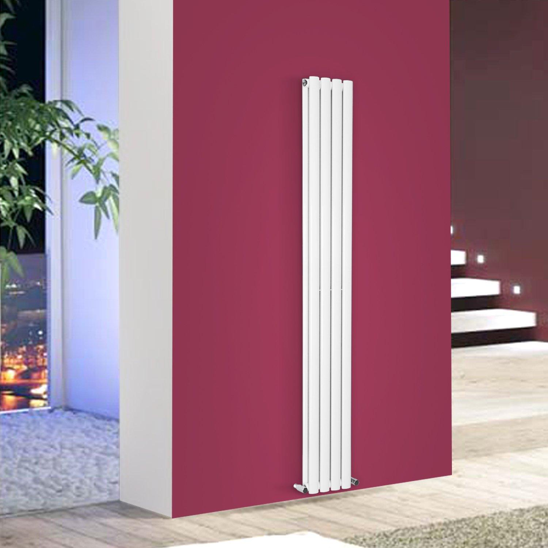 1800x236mm Vertical Oval Column Designer Bathroom Radiator Black Single Panel