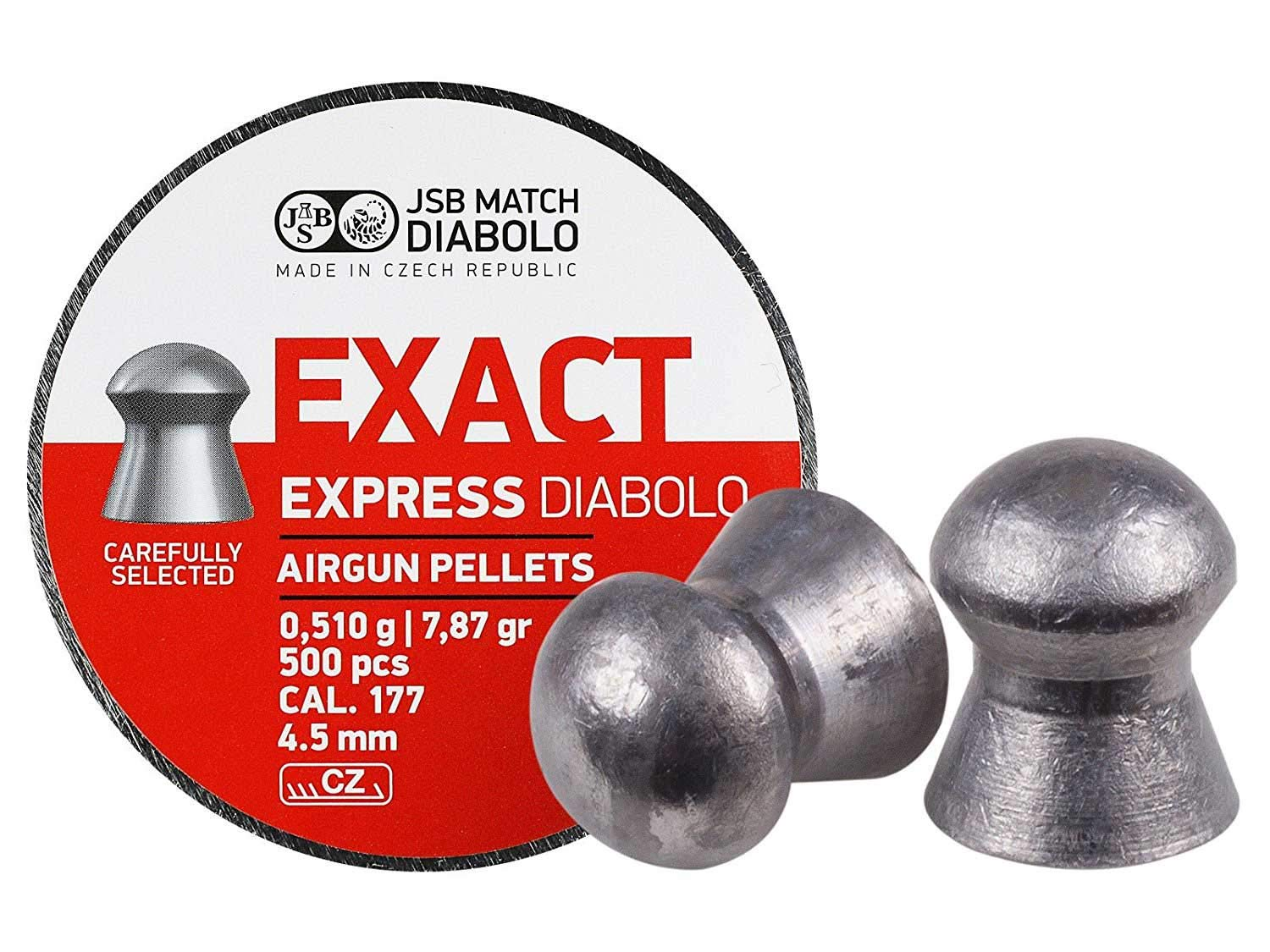 JSB Diabolo Exact Express Air Gun Pellets .177 Cal, 7.9 Grains, 500ct by JSB