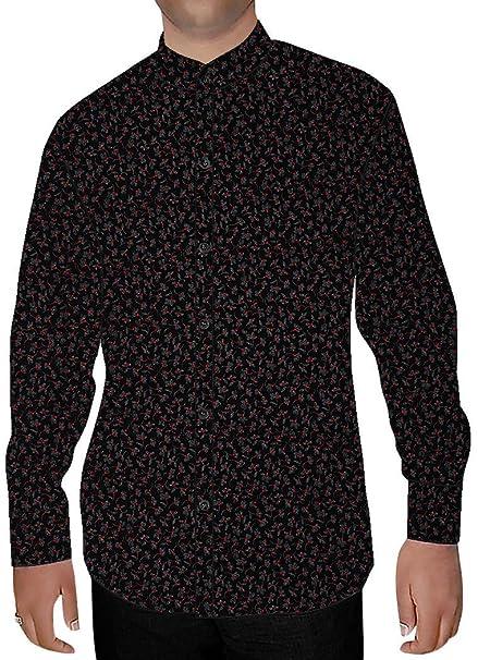 INMONARCH Hombres Impresas EN Negro Camisa Nehru Diseño Floral NSH15268: Amazon.es: Ropa y accesorios