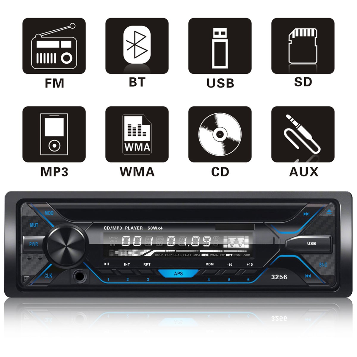 FORE F-3252S Single Din Vehicle Bluetooth CD Digital Music Player Receiver Customized Pattern LCD with Wireless Remote