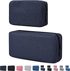 Travel Electronics Cable Organizer Bag Accessories Bag,Canvas Waterproof Universal Electronics/Accessories Multifunction Carrying Case Gadgets Bag Pouch 2 Pieces,Navy Blue(Small+Big)