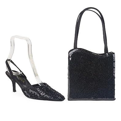 Farfalla Luxus Passenden Schuhen und Tasche, Schwarz