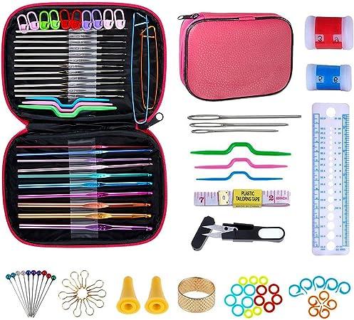 NIAGUOJI Ganchillos Crochet 100Pcs Kit de Ganchillos ganchos de ganchillo con mango ergonómico Conjunto de Tejer en Ganchillo Proyectos herramientas de tejido de punto con estuche de cuero: Amazon.es: Hogar