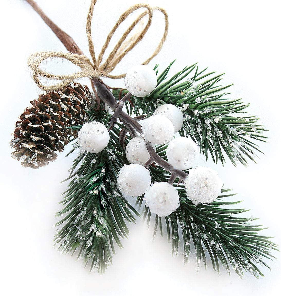Amazon White Christmas Berries Berry Stems Pine