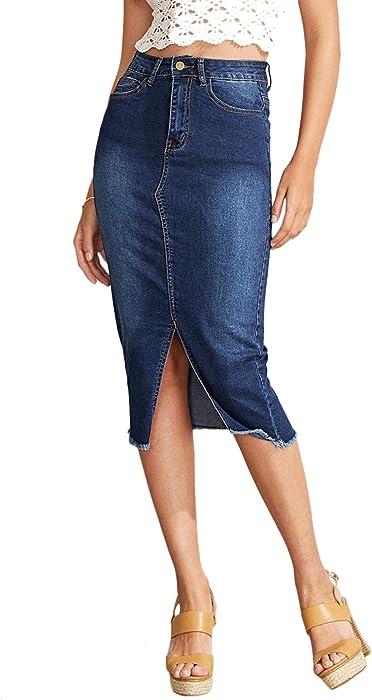 dba428c475 SheIn Women's Elegant Slit Hem Frayed Trim Stretchy Cotton Denim Skirt Blue