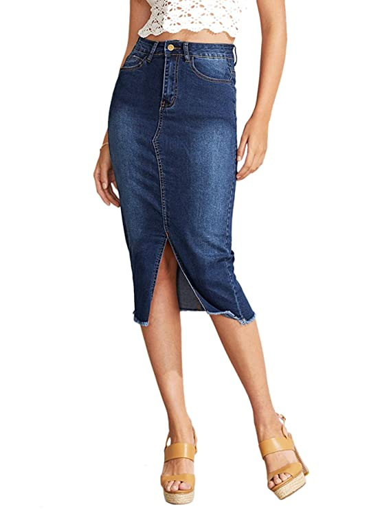 SheIn Women's Elegant Slit Hem Frayed Trim Stretchy Cotton Denim Skirt Blue best jean skirts