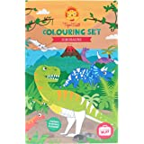 Dinosaur Colouring Set for Boys. Dinosaur Colouring Book Activity Set for Boys. Great travel activity packs for kids / Activity Book. Great Gifts for Boys 6 years old by Tiger Tribe