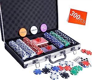 Homwom Casino Poker Chip Set - 200PCS/300PCS Poker Chips with Aluminum Case, 11.5 Gram Chips for Texas Holdem Blackjack Gambling
