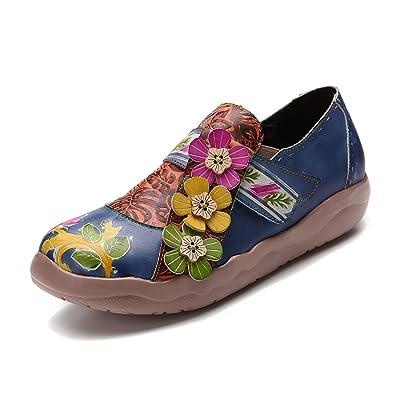 gracosy Damen Leder Slipper Espadrilles Mary Jane Schuhe Damen Sandalen Halbschuhe Blume Metallic Vintage Leder-Optik...