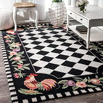 Amazon Com 3 6 X5 Black Red Lime Green Rooster Chicken Flowers Checkered Chessboard Printed Area Rug Indoor Graphical Pattern Living Room Rectangle Carpet Graphic Art Themed Soft Wool Colorful Rich Design Furniture Decor