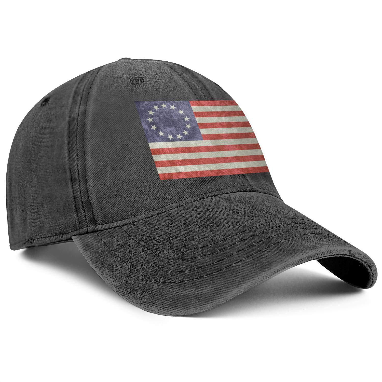 Man Woman Denim American Betsy Ross Flag Caps Cowboy Hat Vintage Workout Cap