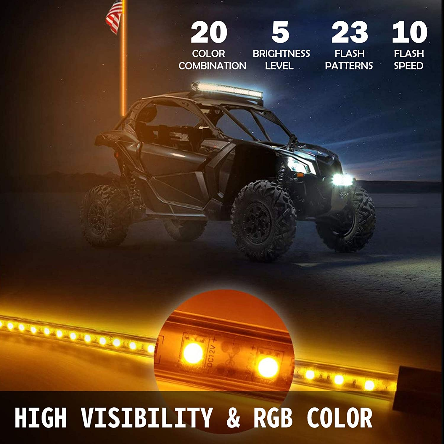 Bestauto Led Whip Lights RGB Color Lighted Whips for UTV 4ft Led CB Antenna 2pcs Off-road Whip Remote Wireless Control LED Whips for Sand Dune Buggy UTV ATV Polaris Accessories RZR 4X4 Truck Jeep