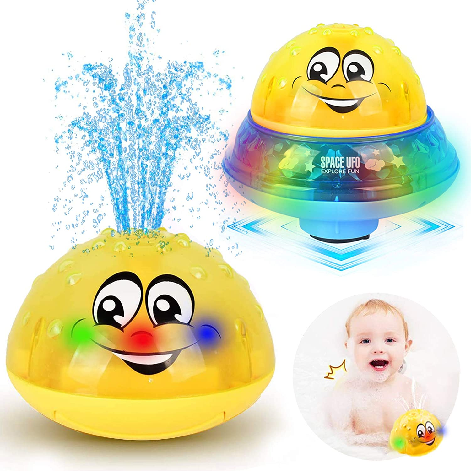 Piglagogo Bath Toys 2 in 1 Induction Water Spray Toy /& Space UFO Car Toys with Music and Flashing Lights Fountain Toy Automatic Induction Sprinkler Bath Toy Bathtub Toys for Toddlers