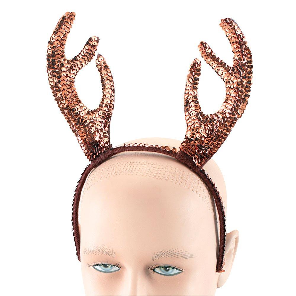 FESTIVE CHRISTMAS SEQUIN REINDEER HORNS ladies womens ladies fancy dress costume