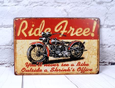 wall art  Get on your bikes and RIDE motorcycle tin metal sign US SELLER