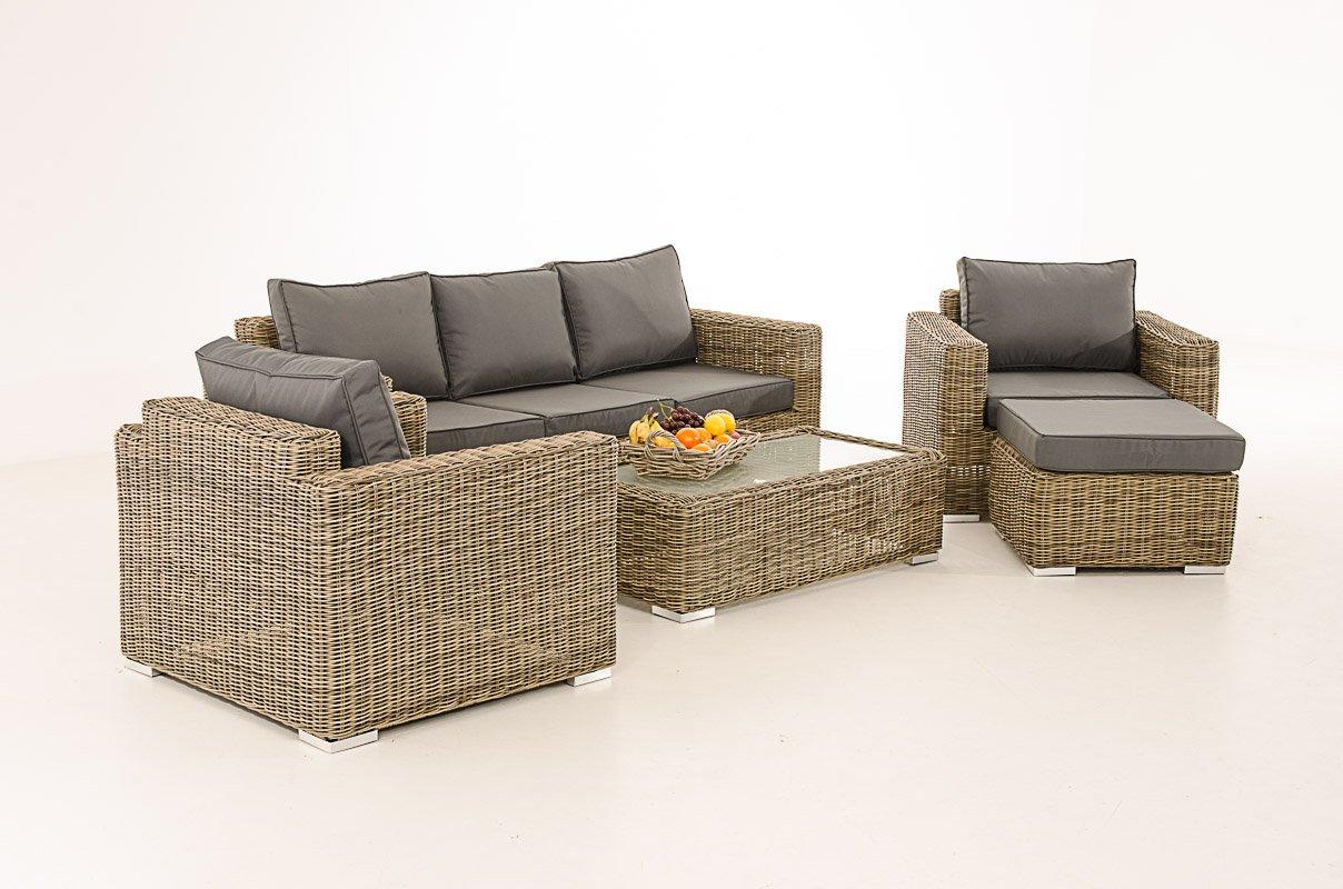 Mendler 3-1-1 Gartengarnitur CP053 Sitzgruppe Lounge-Garnitur Poly-Rattan ~ Kissen eisengrau, Natur