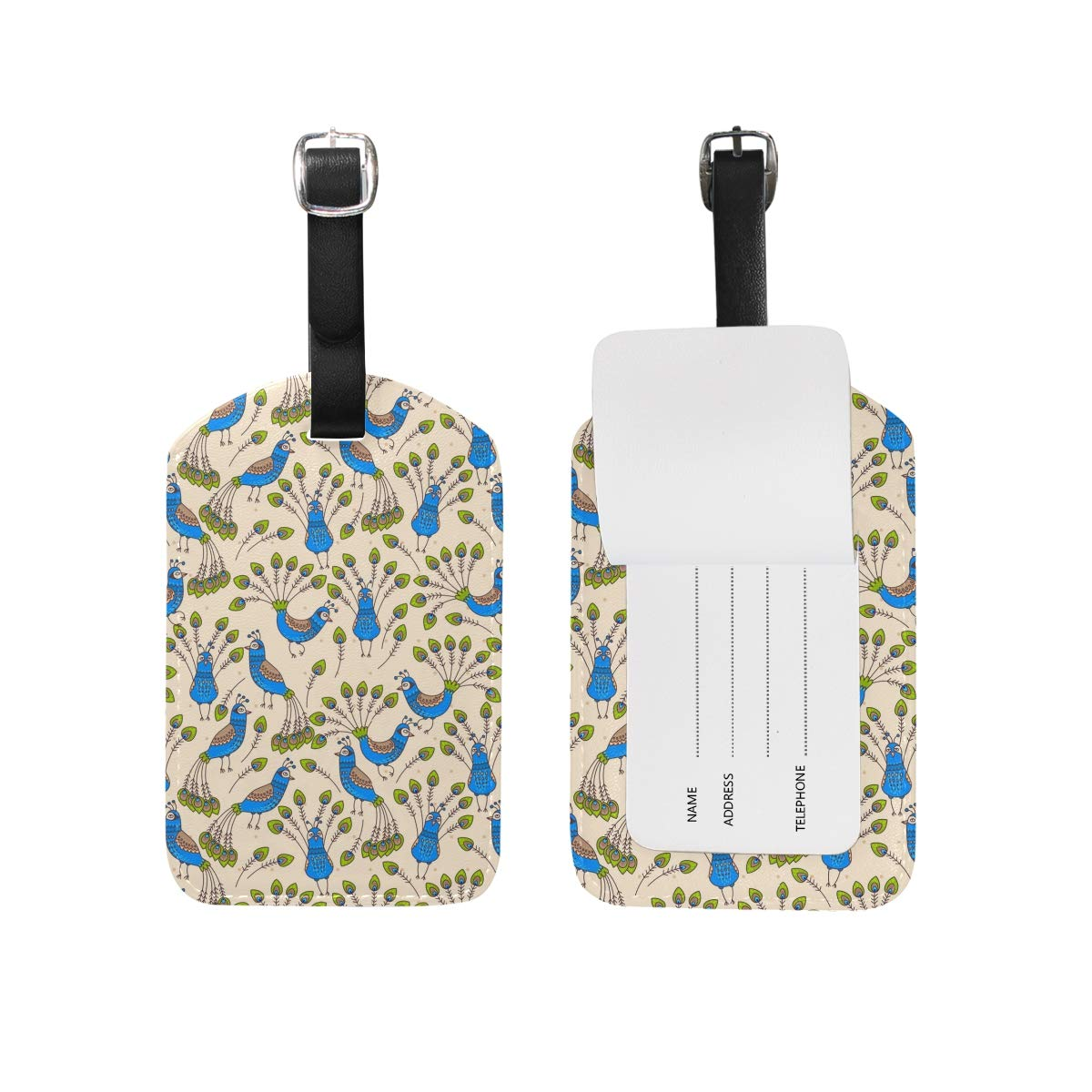 Peacock And His Feathers Sling PU Leather Luggage Tag Label Suitcase Travel Accessories 1 Piece