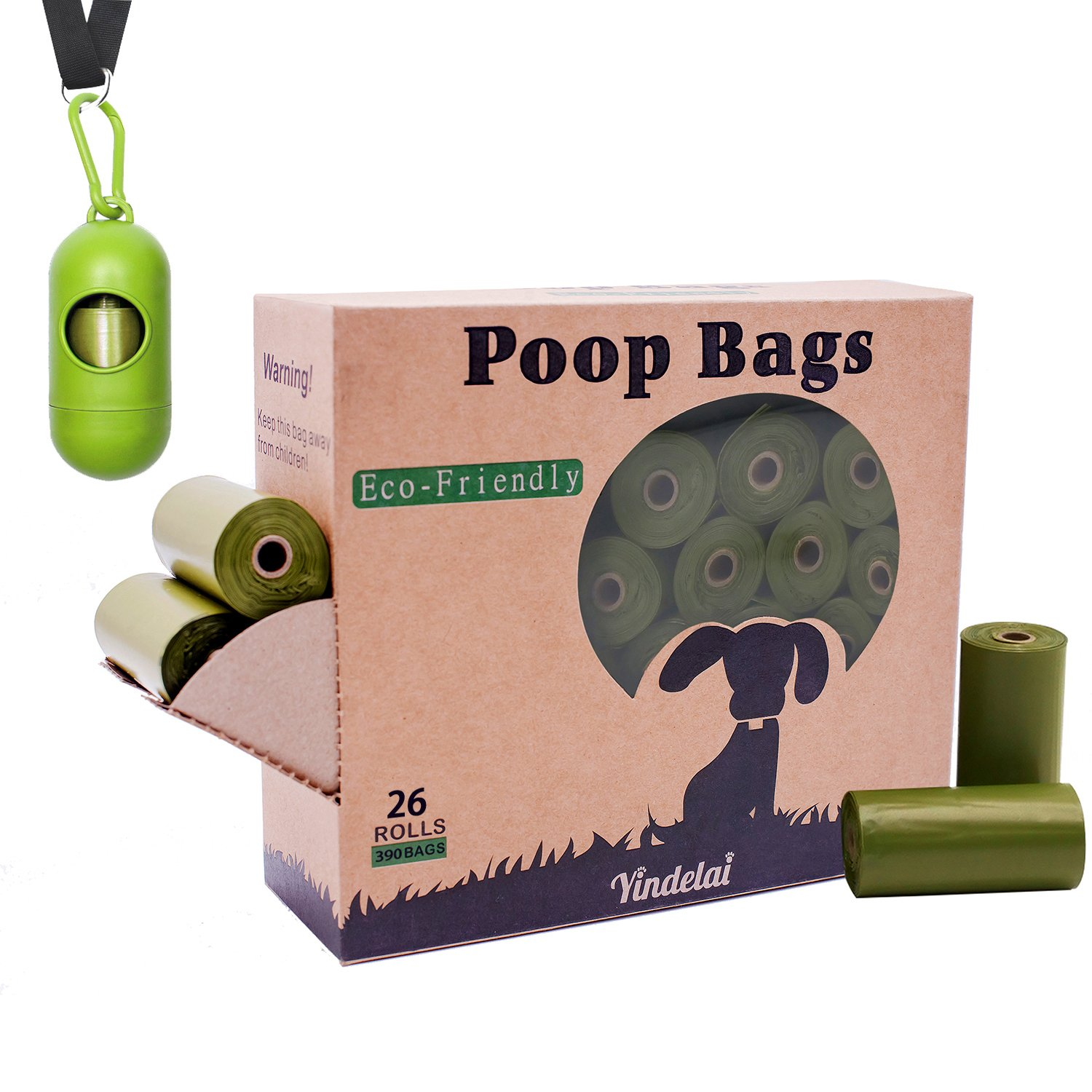 BOTEWO Dog Poop Bags with Dispenser, 390 Count/26 Rolls Scented Dog Poop Pickup Bags Biodegradable