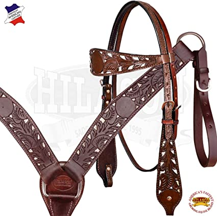 HILASON Western Horse Headstall Leather Floral Carved Accents Pink