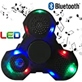 HAIL-SADES Prime Fidget Spinner with LED lights and Bluetooth Speaker best cool light up double sided toy with all black case and charger (black)