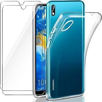 Leathlux Coque Compatible avec Huawei Y5 2019 Transparente avec 2 Verre trempé Protection écran, Souple Silicone Étui Protection Bumper Housse TPU ...