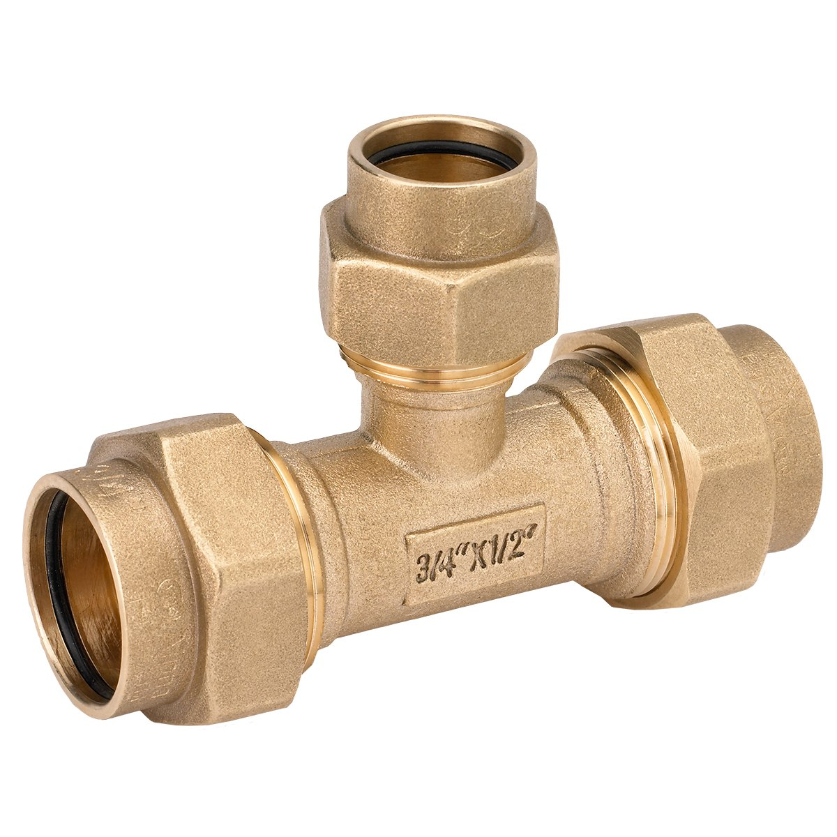 HOME-FLEX 3/4 In. X 3/4 In. X 1/2 In. Brass CSST Tee