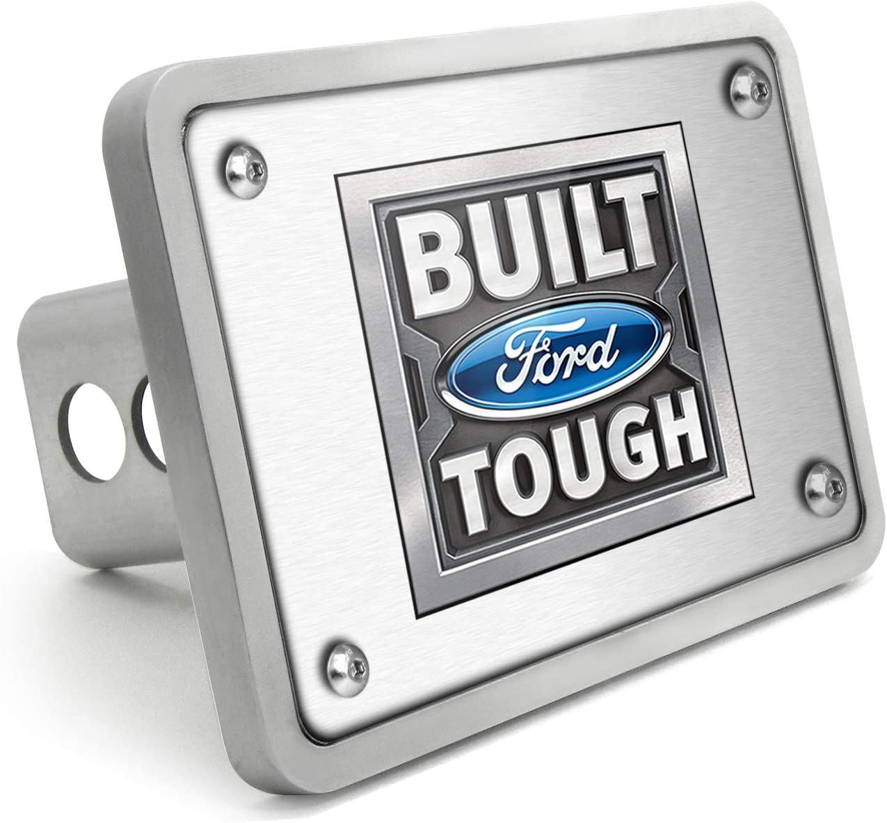 iPick Image Ford Built Ford Tough UV Graphic Brushed Silver Billet Aluminum 2 inch Tow Hitch Cover for F-150 Made in USA Super-Duty and SUV