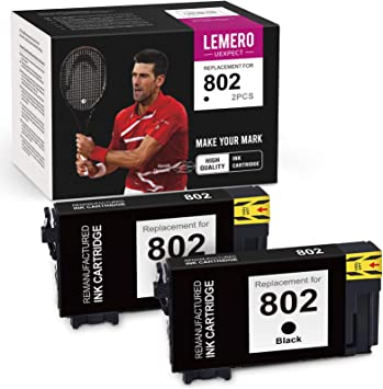 LemeroUexpect Remanufactured Ink Cartridge Replacement for Epson 802 802XL T802XL for Workforce Pro WF-4730 WF-4734 WF-4740 WF-4720 EC-4020 EC-4030 EC-4040 (Black, 2-Pack)