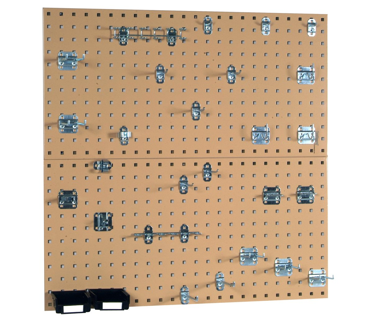 Triton Products Locking Pegboard Hooks LB18-TKit (2) 18 In. W x 36 In. H x 9/16 In. D Tan Steel Square Hole Pegboards with 30 pc. LocHook Assortment & Hanging Bin System, 18'' x 36'' x 9/16''