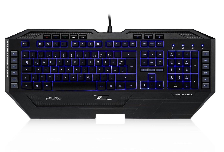 Perixx PX-3200 US - Teclado (Retroiluminado, 7 colores, USB), color negro: Amazon.es: Informática