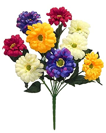 Amazon 9 zinnias purple pink yellow cream silk wedding flowers 9 zinnias purple pink yellow cream silk wedding flowers bridal bouquets craft mightylinksfo
