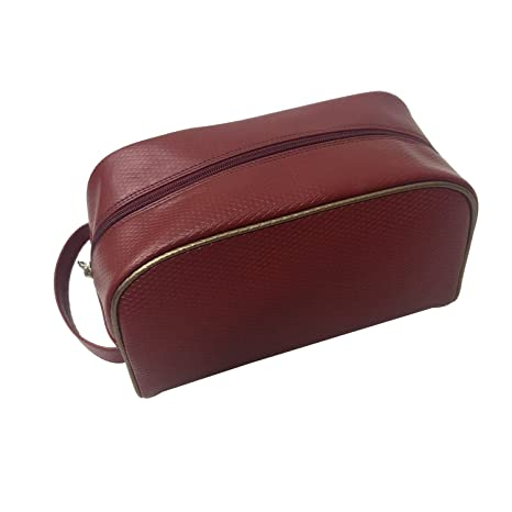 Essart PU Leather textured finish Toiletry Kit bag Organiser alongwith tiny handle  Maroon Travel Kits   Organizers