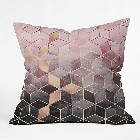 Society6 69784 Othrp16 Elisabeth Fredrik Son Pink Grey Gradient Cubes 2 Indoor Throw Pillow 16 X16 Home Kitchen